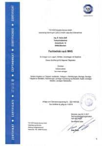 TÜV Zertifikat Tankschutz Vacha - Fachbetrieb nach WHG
